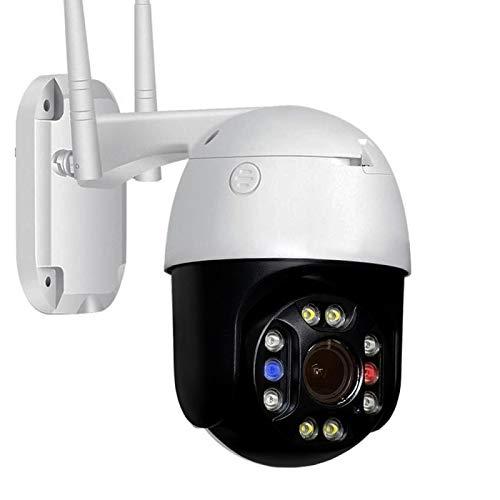 XIAOSHEN Cámara IP PTZ con WiFi Exterior, 5,0 megapíxeles, Zoom óptico 5X, Alarma de Audio de Dos Canales en Tiempo Real, IP66, visión Nocturna a Color a Prueba de Agua con Tarjeta 64G