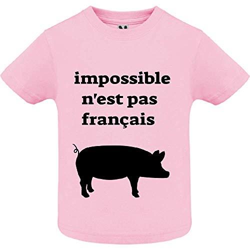 LookMyKase T-Shirt - Impossible n est Pas Franc ais - Bébé Fille - Rose - 12mois