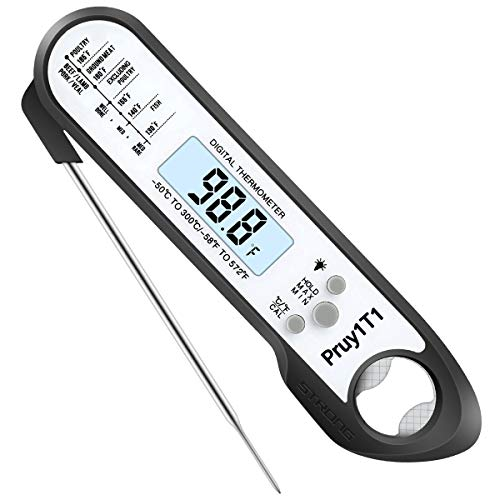 one touch ultra 2s Digital Instant Read Meat Thermometer Kitchen Cooking Candy Food Thermometer with Backlight & Calibration Bottle Opener , Best Waterproof Ultra Fast Kitchen Thermometer for Cooking Grilling BBQ Smoker Chefs Oil Fry