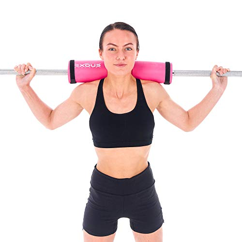 EXOUS BODYGEAR Barbell Squat Bar Neck Pad Weight Cushion - Sponge for Hip Thrusters - Fits Olympic Bars - with Safety Fixing Straps