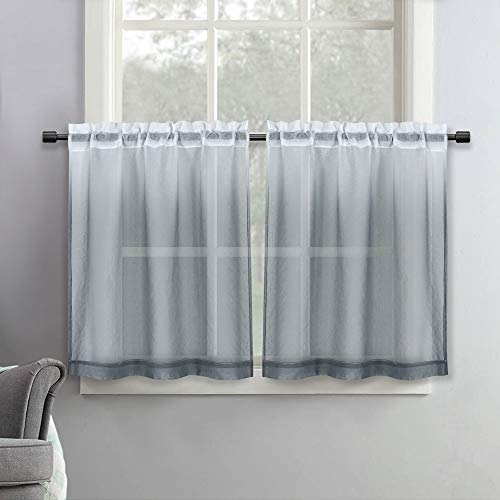 SeeGlee Grey Ombre Linen Look Tier Short Sheer Curtains - 36 Inch Width by 36 Inch Length Shee Curtains for Cafe ,Half Window Gauze Curtain Tiers for Cabinet,2 Panels