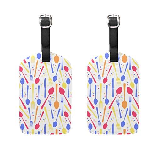 VORMOR Gepäckanhänger (Sortiert, 2 PK),Vektor-Illustrations-Löffel-Messer-Gabel-Kreis, Gepäckanhänger, Kofferanhänger für Rucksäcke