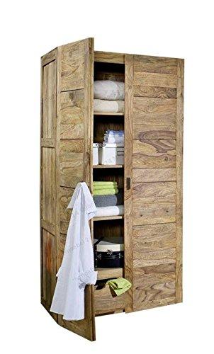 MASSIVMOEBEL24.DE Sheesham Holz massiv Möbel geölt Kleiderschrank Massivmöbel Holz massiv braun Nature Brown #501