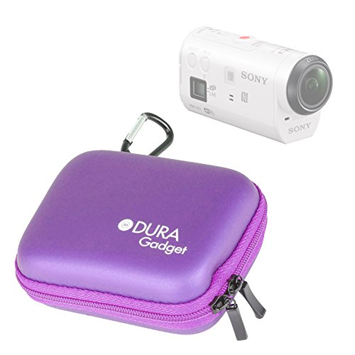 DURAGADGET Etui Housse Rigide Violet avec Attache pour caméra embarquée Sony AZ1VR Action Cam Mini with Wi-FI