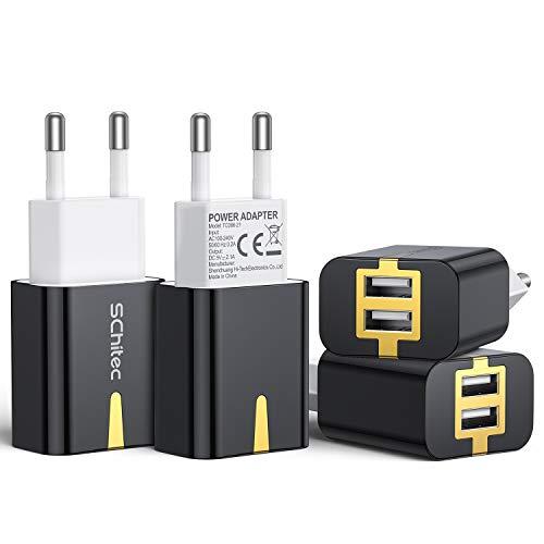 SCHITEC Cargador USB,4 Pack 5V / 2.1A 2 Puertos Cargador USB Pared USB Adaptador de Corriente para Enchufe de Viaje en el hogar para iPhone 11/XR/XS,Samsung Galaxy S9/S10, Xiaomi Redmi (Negro)
