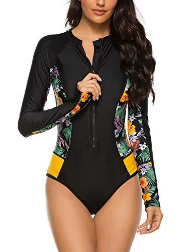 Yateen Womens Athletic Training Swimsuit Long Sleeve Rashguard