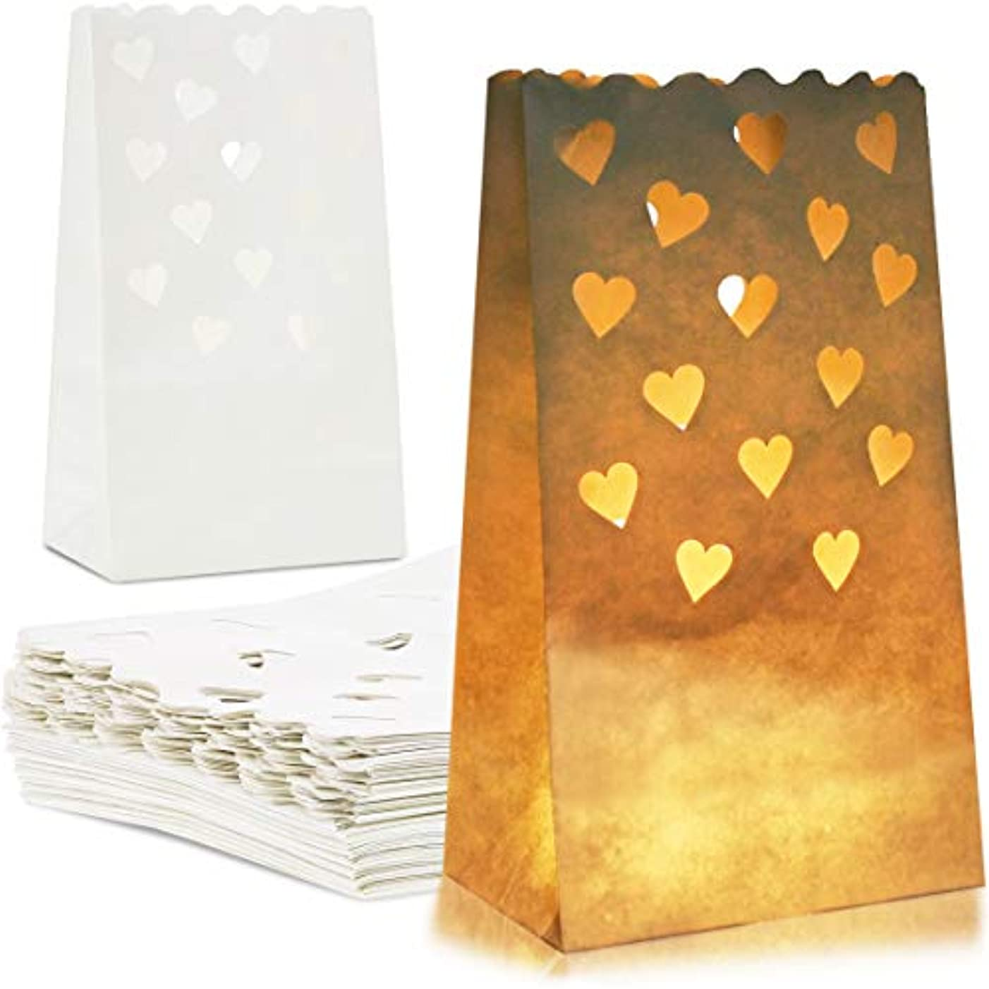 Juvale 24-Pack White Tea Light Candle Luminary Bags for Weddings, Party Decoration, 10 x 6 x 3.5 Inches