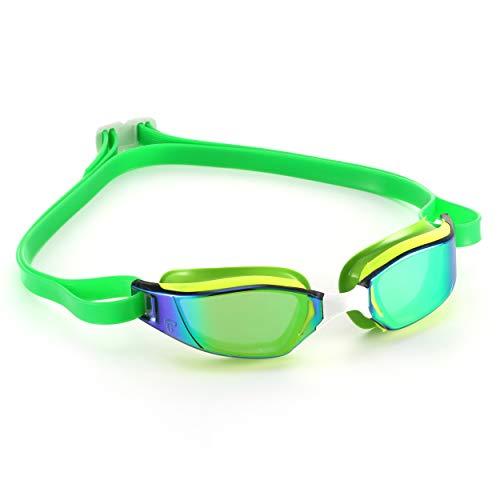 Phelps XCEED, Occhialini da Nuoto Unisex-Adulto, Lente a Specchio in Titanio Giallo e Verde/Verde, Taglia Unica