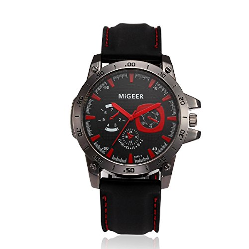 Men's Sport Analog Quartz Wrist Watches with Soft Silicone Strap Chronograph Waterproof Outdoor Watch (Red)