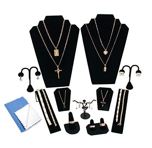 RJ Displays Juego de 12 Piezas de joyería de Terciopelo Negro para Collares, Pulseras, Pendientes, Colgantes, Anillos y Joyas, Paquete de Pantallas
