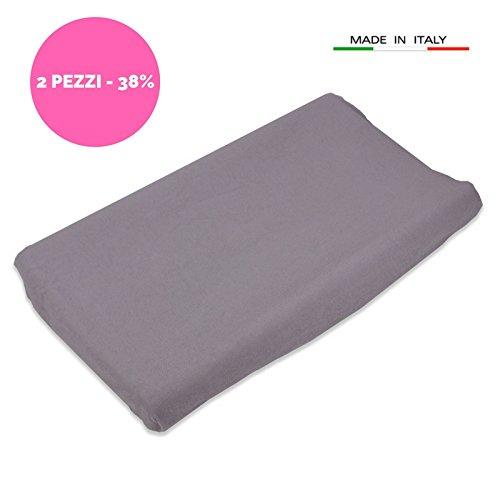 Babysanity 2 rivestimenti fodera copri fasciatoio universale in morbida micro fibra di spugna (grigio)