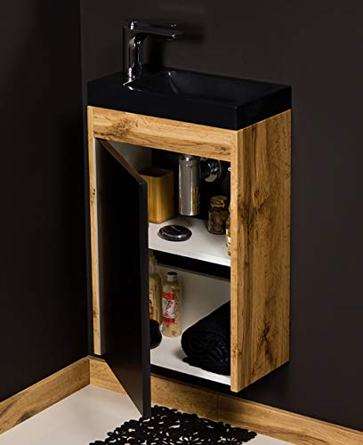 Quentis Badmöbel Gäste-WC Set Guest, Breite 40 cm, Waschbecken schwarz mit Unterschrank, Eiche, Waschbeckenunterschrank montiert