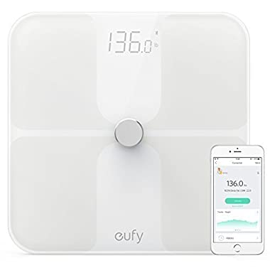 Eufy BodySense Smart Scale with Bluetooth, Large LED Display, Weight/Body Fat/BMI/Fitness Body Composition Analysis, Auto On/Off, Auto Zeroing, Tempered Glass Surface, lbs/kg/st Units