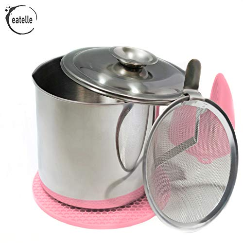 eatelle Cooking Oil Container and Bacon Grease Keeper with Strainer, Stainless Steel Oil Storage Can - Fat Jar 1.25 Quart - 5 Cups, Traditional Holder and Oil Separator + Pink Silicone Mitt and Mat…