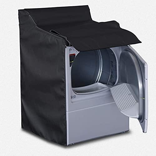 Cubierta para lavadora impermeable, apta para lavadora de carga superior al aire libre y lavadora de carga frontal, diseño de cremallera gruesa para fácil uso, 73,6 x 71,1 x 101,6 cm, color negro