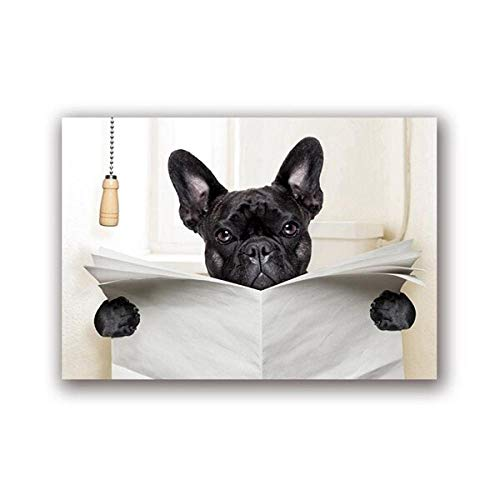 """JinYiGlobal Perro Leyendo Periódico Aseo Arte de la Pared Lienzo Póster Impreso Divertido Perro Pintura Cuadro de Pared Decoración del baño del hogar 30x40cm (11.8""""x15.7) Sin Marco"""