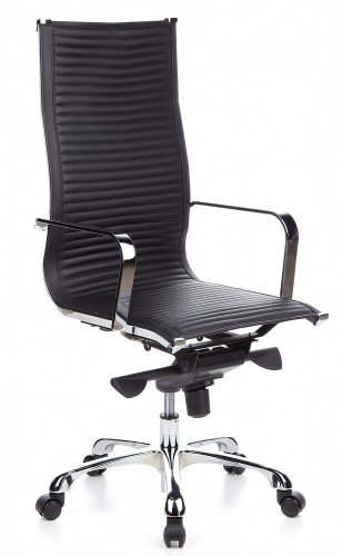hjh OFFICE Bürostuhl/Chefsessel CREMONA 20 Nappaleder schwarz Chrom