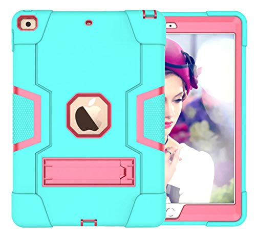 HNKHKJ Schwere Shochproof Silikon Rüstung Abdeckung für iPad 10 2 7. Gen A2198 A2200 A2232 10 2Tablet Funda Capa Fall für Kinder + Film + Pen-Mint_G_Rose