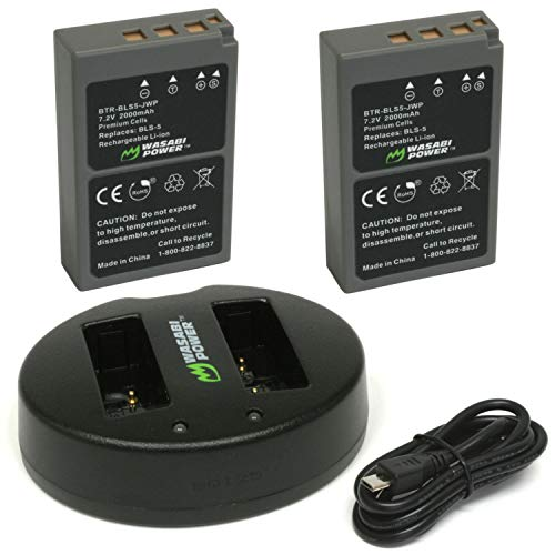 Wasabi Power Battery (2-Pack) and Dual USB Charger for Olympus BLS-5, BLS-50, PS-BLS5