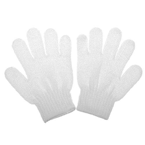 1 Paire Gant de Bain Exfoliant Soins de La Peau Massage Nettoyage Douche - Blanc