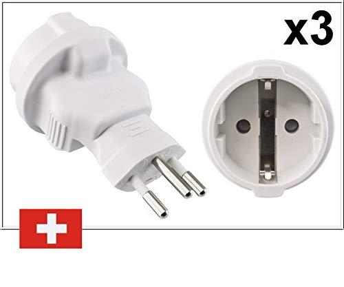 DINIC reisadapter, stroomadapter voor Zwitserland, 3-pins CH DE adapter met zekering