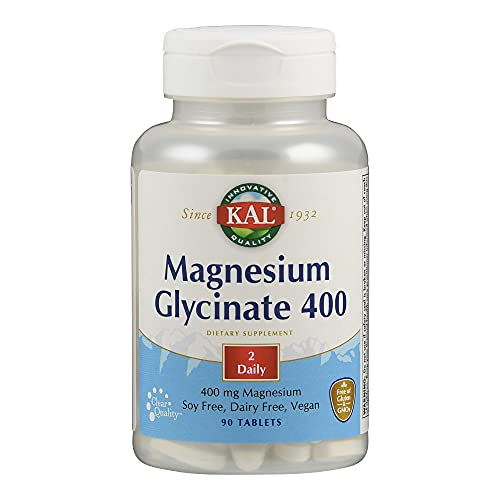 KAL | Magnesium Glycinate 400mg | Magnesio Glicinato | Sin Gluten | Apto Para Veganos | 90 Comprimidos