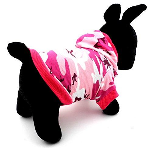 Zunea - Sudadera con capucha para perro, diseño de camuflaje, color rosa