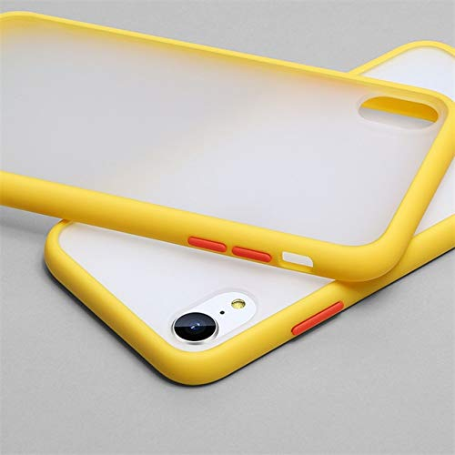 XLSJK Funda para Teléfono Luxury Transparent Matte Color Frame Phone Case For iPhone 6 6S 7 8 Plus X XS 11 Pro MAX XR Hard Pc Protective Back Cover Case For iPhone 11 Yellow