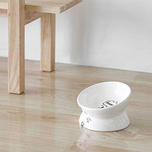 Raised Cat Food Bowls, Tilted Elevated Cat Bowl, Ceramic Pet Food Bowl for Flat Faced Cats,