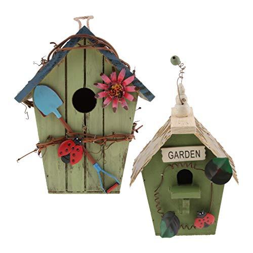 FLAMEER Vintage Vogelhaus Nistkasten Nisthöhle für Rotschwanz, Landhaus Stil für Garten Terrasse Balkon - Blau + Grün