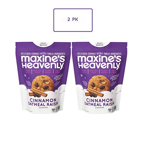 Maxine's Heavenly - Plant Based, Gluten Free, Low Sugar - Cinnamon Oatmeal Raisin Cookies (Pack of 2)