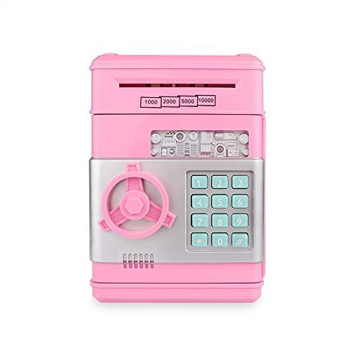 A0ZBZ Hucha electrónica Banco de Dinero con contraseña para Efectivo Monedas cajeros automáticos Mini Bancos de Monedas Hucha para niños (Rosa)