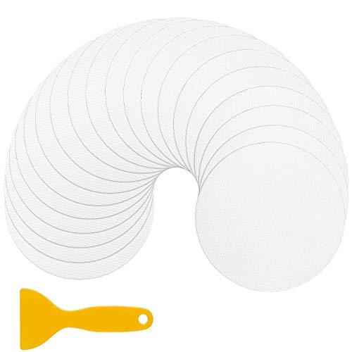 AGPTEK Antirutsch Aufkleber, Antirutschmatte 20 Stück Duschmatte Pads rund 10 cm, Wanneneinlage Transparent, Selbstklebend, Rutsch-Schutz Sticker Set mit Kunststoffschaber Dusch Badewanne