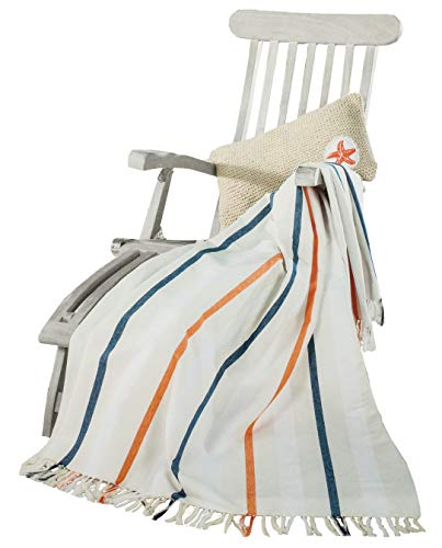Brandsseller Leichte Decke Maritim Wohndecke Sommerdecke Lounge 100% Baumwolle ca.150x200 cm Weiß/Streifen
