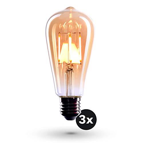 CROWN LED 3 x Edison Glühbirne E27 Fassung, Dimmbar, 4W, Warmweiß, 230V, EL01, Antike Filament Beleuchtung im Retro Vintage Look