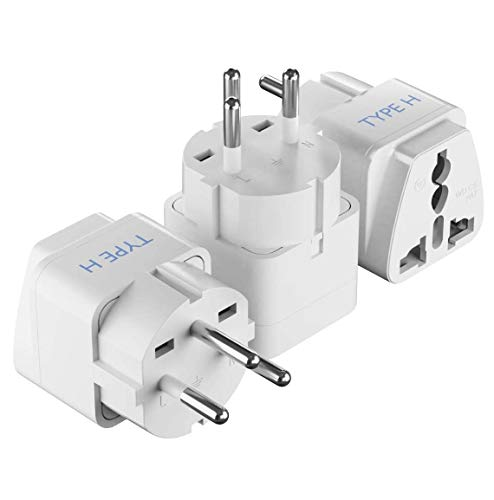 Israel Power Adapter Travel Universal Plug by Ceptics, Works in Palestine, Jerusalem, Holy City - Perfect for Charging your Electronic Devices (Type H)- Safe Grounded Connection - 3 Pack (GP-14-3PK)
