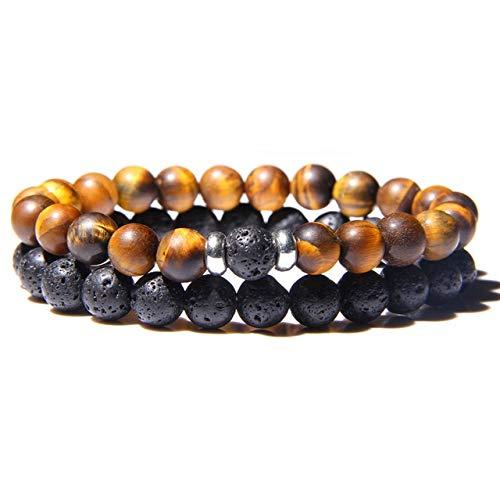 WEIZI Pulsera de los hombres vintage de 8 mm natural ojo de tigre piedra perlas pulsera de moda volcánica cuentas energía pulsera joyería unisex