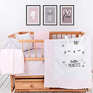 100% Cotton Crib Bedding Sets for Girls | 8 Piece Baby Bedding Set | Premium Turkish Cotton Baby Bedding | Breathable and Comfy Embroidery Nursery Decor | Includes Mattress Protector | by pamooq