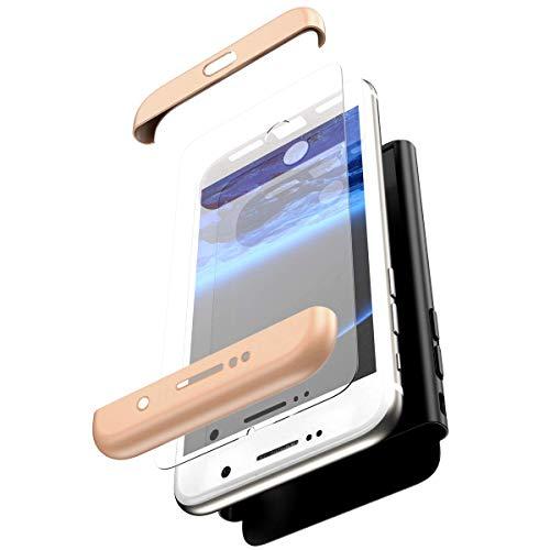 Herbests Kompatibel mit Samsung Galaxy J3 2017 Hülle + Panzerglas Komplett Hülle Full Cover 3 in 1 Ultra dünn PC Hart Schutzhülle Handyhülle 360 Grad Hülle Fullbody Case,Gold Schwarz