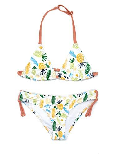 SHEKINI Girls Swimwear Halter Triangle Bikini Leopard Print Two Piece Swimsuits (Pineapple Print, 10-12 Years)