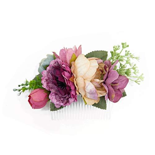 Ever Fairy La main de mode Peigne fleur cheveux pour les femmes filles robe de demoiselle d'honneur Peigne Satin Accessoires Peigne (B)