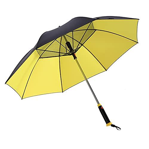 Gmjay Parapluie Pliant Ventilateur Intégré Protection UV Parapluie de Pluie Chargement USB Protection UV Parasol de Refroidissement Parapluie pour L'extérieur,Yellow