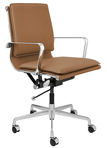 Lexi Soft Pad Modern Office Chair with Aluminum Arms (Tan)