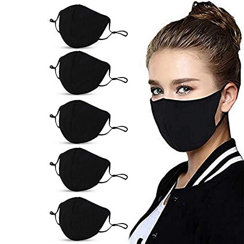 Reusable Cotton Adjustable Adult Protective Face Protector (5Pcs-Black)