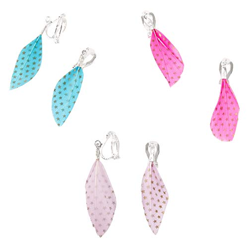 Claire's Silver Feather Drop Clip on Earrings for Girls, Pink/Lavender/Teal, 1.5 Inches, Cute Jewellery for Girls, 3 Pack