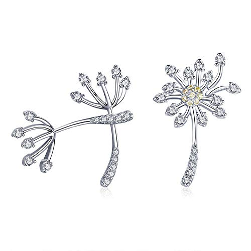 Genuine 925 Sterling Silver Blooming Dandelion Love Exquisite Stud Earrings for Women Fashion Silver Jewelry