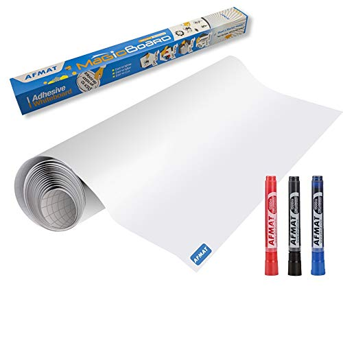 White Board Sticker, Whiteboard Paper, Upgrade PET-No Ghost, 1.45x11ft, Super Sticky, Stain-Proof Dry Erase Film Self Adhesive Wall Paper Roll for Classroom/Office/Kids Painting, 3 Dry Erase Markers