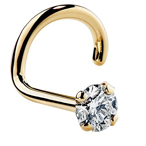 FreshTrends 1.5mm Cubic Zirconia 14K Yellow Gold Nose Ring Twist Screw - 20G