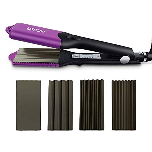 DSHOW 4 in 1 Kreppeisen für Haare Multistyler Titan Glätteisen Haarglätter Kreppeisen und Schnellaufheizung für Glattes und Crimper Haar