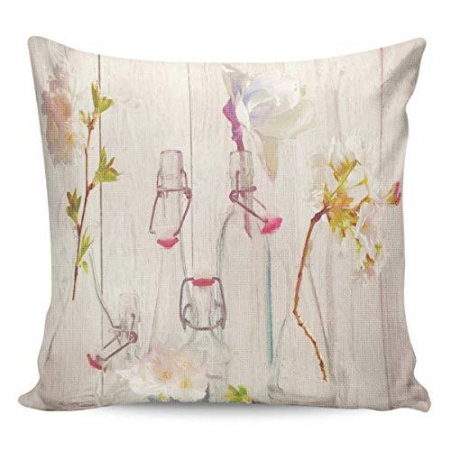 Funda de Cojine Fundas de almohada Flor en botella Funda de almohada decorativa Cubre Arte de pintura al óleo Throw Cojín 45 X 45 CM